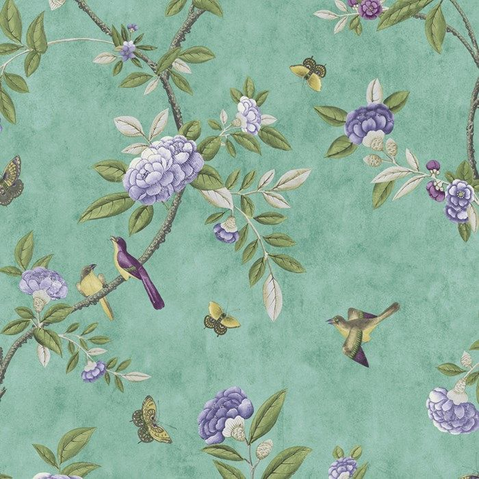 Chinoiserie Jade Green Wallpaper - Green Floral Wall Coverings by ...
