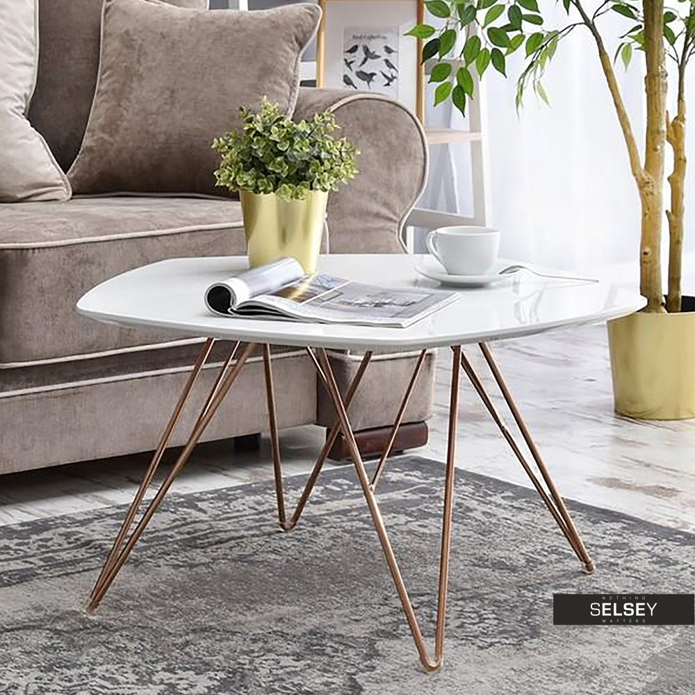 Stolik Kawowy Penta 76x75 Cm Bialy Miedz Decor Home Decor Folding Table