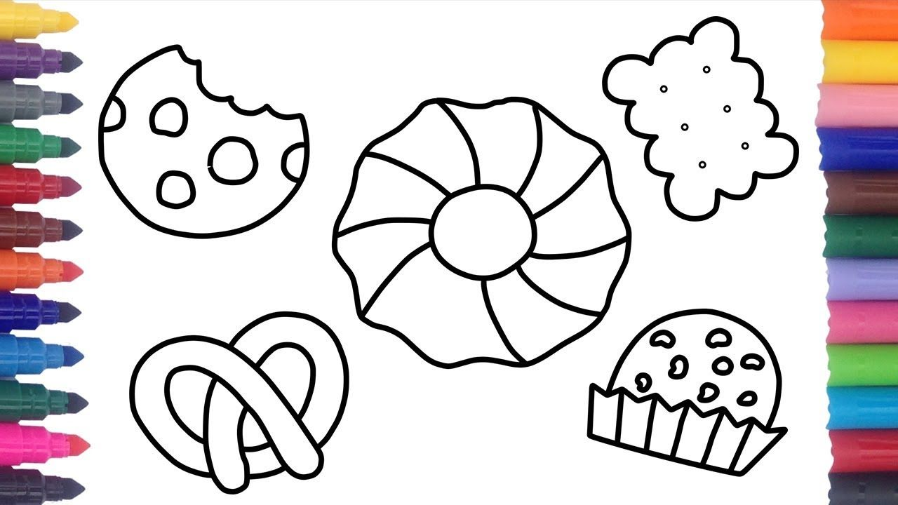 How To Draw Colorful Cookies Coloring Pages Food Coloring Videos And T Coloring Pages Drawing For Kids Teaching Drawing