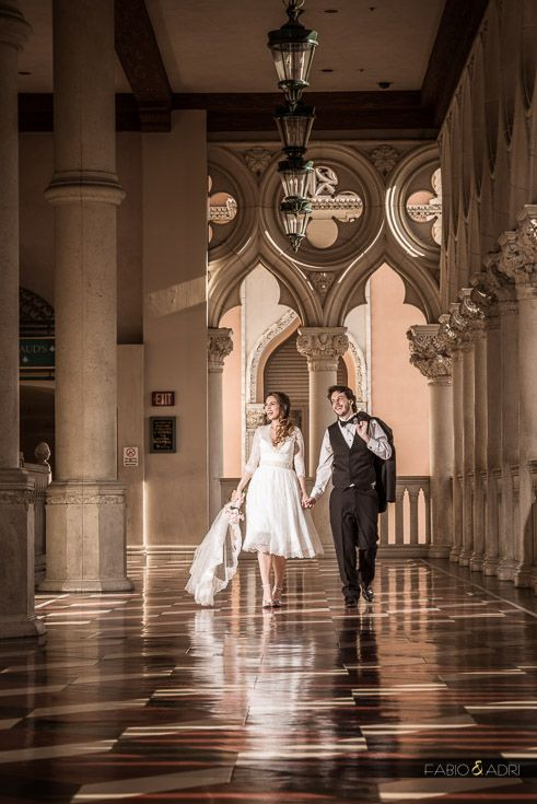 Bride And Groom Walking At Venetian Las Vegas Weddings Strip