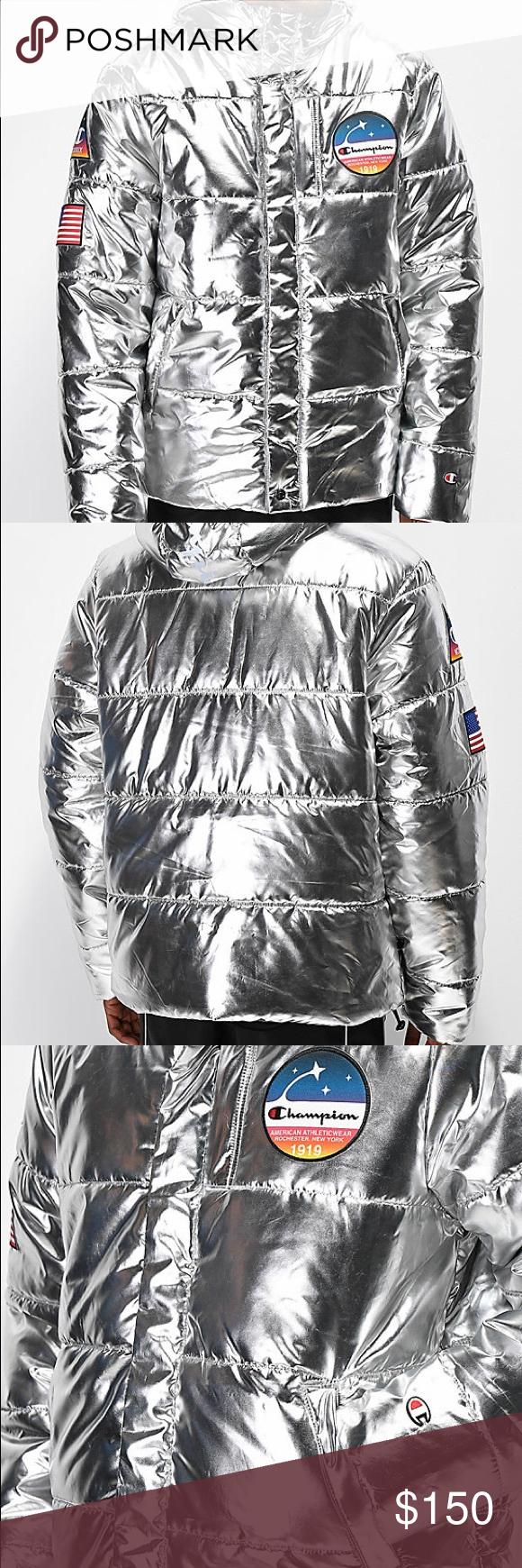 Champion Metallic Nasa Jacket L Nasa Jacket Nasa Clothes Jackets [ 1740 x 580 Pixel ]