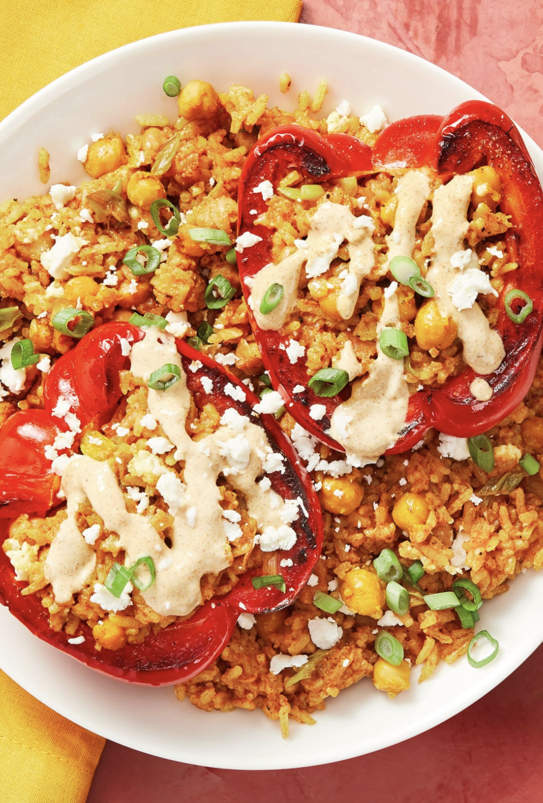Tunisian Stuffed Peppers with Chickpeas, Apricots, and Feta Cheese