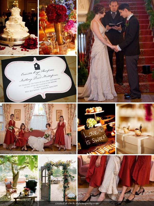 Vintage Themed Wedding Red Gold Black and White Wedding Colors