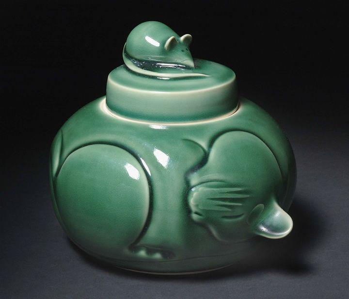 Deborah Shapiro Sleeping Kitty Jar Porcelain Pottery Sculpture Pottery Art Ceramic Art