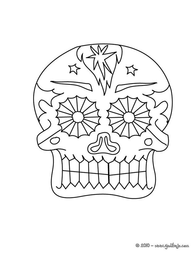 Dibujo para colorear una calavera decoradadel dia de los muertos