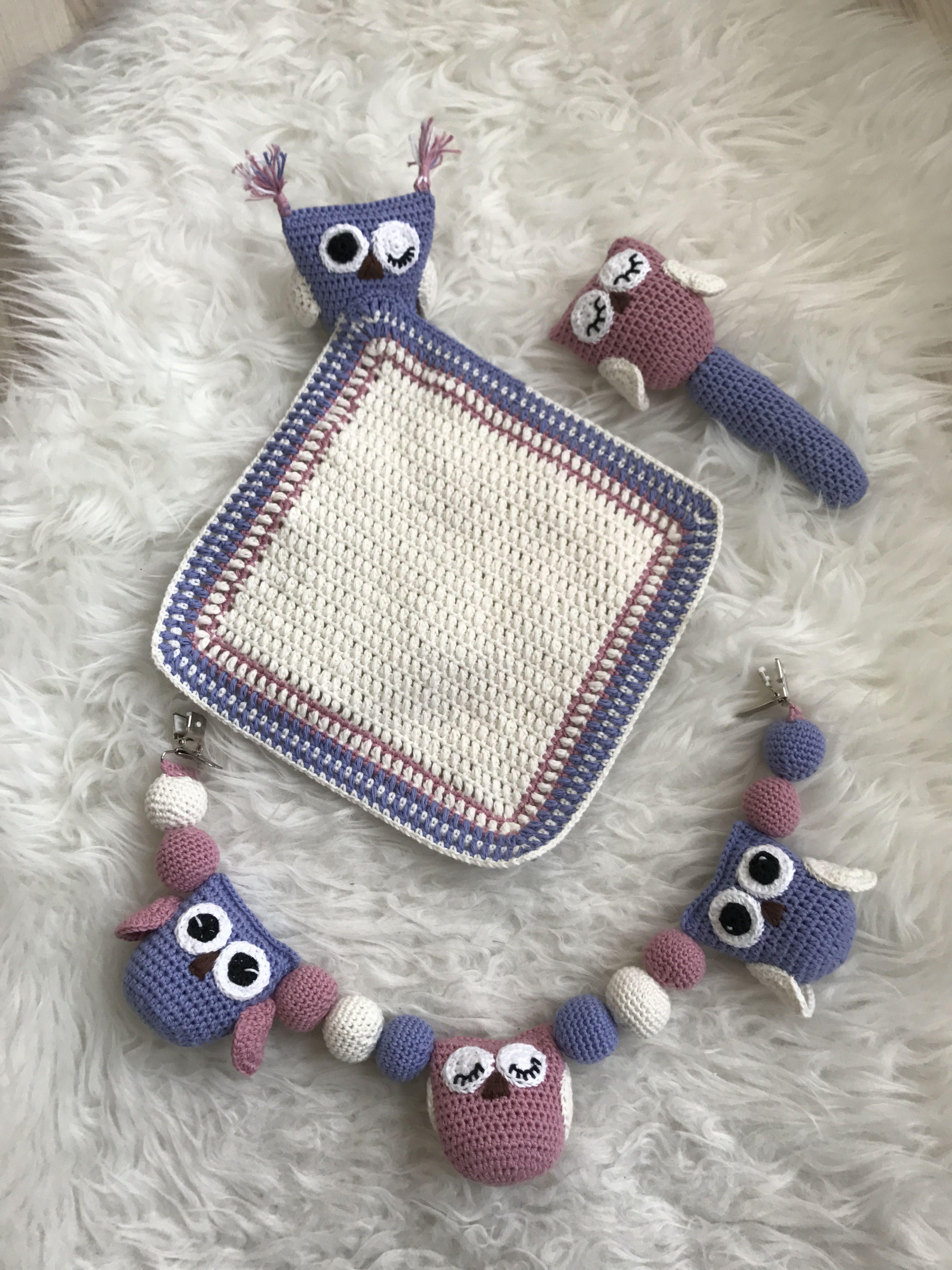 Hækletugle barnvognskæde, nusseklud og rangle