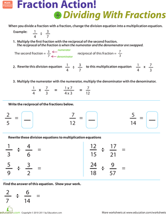 Dividing Fractions By Fractions Worksheet Education Com Fractions Fractions Worksheets Dividing Fractions