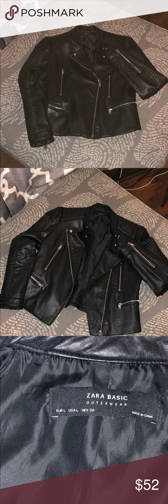 Zara Basic Outerwear Black Moto Jacket Zara Basic Outerwear Moto Jacket With 4 Pockets Shoulder Width 15in Sleeve Me Fashion Black Moto Jacket Clothes Design [ 1740 x 580 Pixel ]