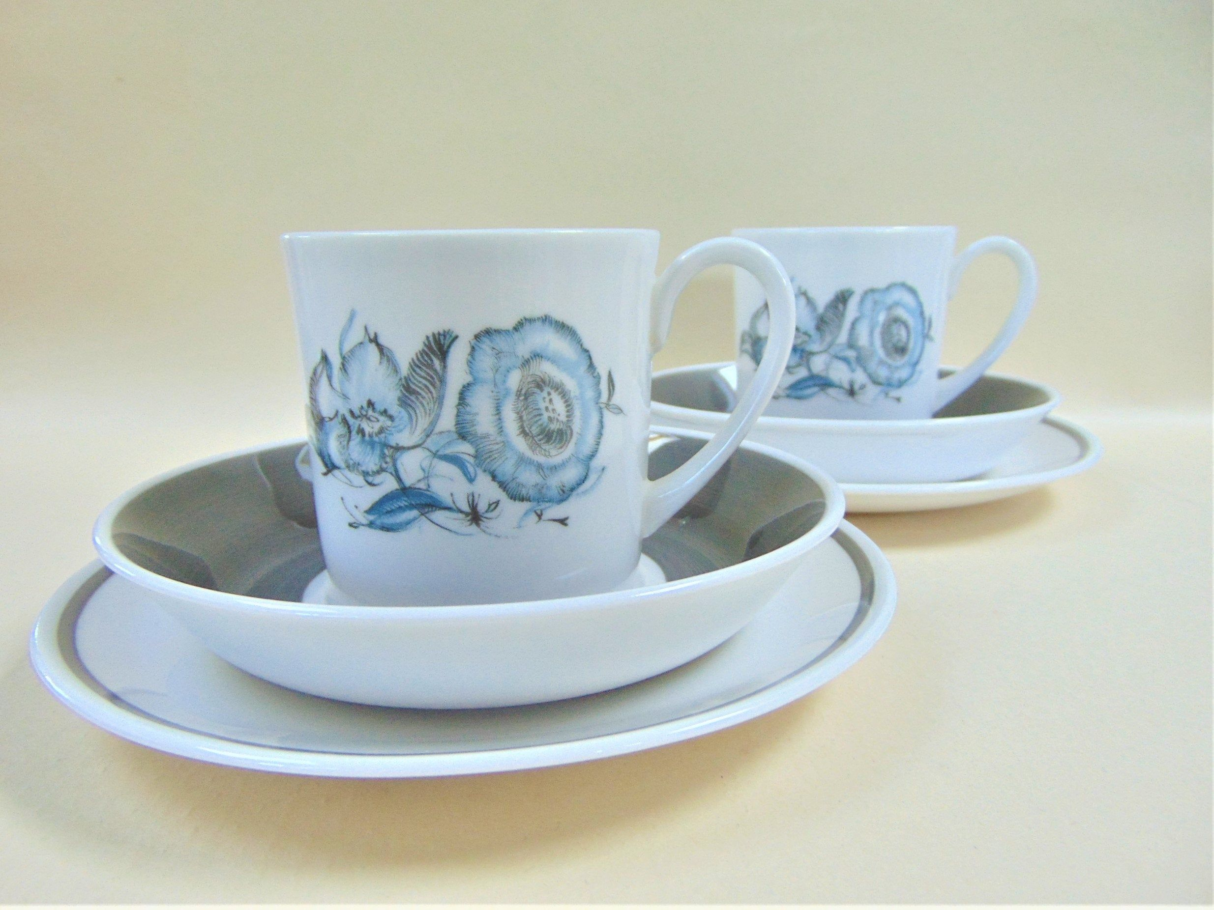 Susie Cooper Blue Peony Flat Cup Saucer and Tea Plate Trio Vintage Bone China Coffee Tea Serving #bluepeonies