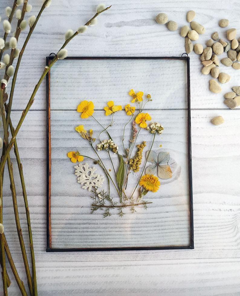 Decor herbarium frame flower art mom gift from daughter