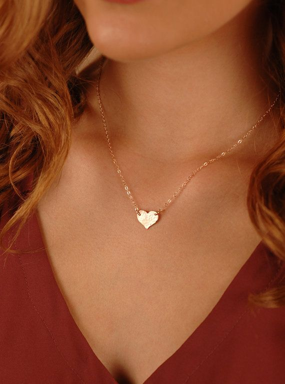 A beautiful Medium Heart Necklace in Gold-Filled, Sterling Silver, or Rose Gold-Filled. The heart can be personalized with a symbol, single initial, or with 2 tiny letters. Choice of smooth or hammered finish. About the Medium Heart Necklace: - 14K Gold-Filled, Sterling Silver, or 14K Rose Gold-Filled Heart (shown in photo), in 20g thickness - 1.6mm Flat Cable Chain - your choice of length from 14 - 20 (Model is wearing about a 17 chain) - The heart disc measures 11mm x 13mm - Beautifully…