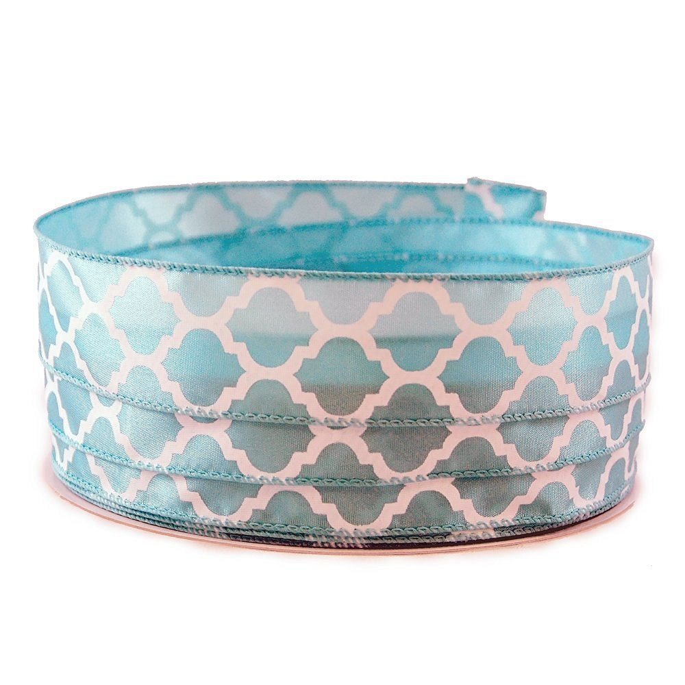Moroccan Print Powder Blue and White Satin Wired Ribbon 9 - 1.5in x 10yards -- Continue to the product at the image link.