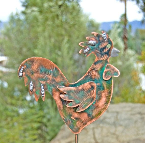 Rooster Decor / Garden Stake / Metal Garden Art / Yard Art / Copper Art /  Farm Animal / Rooster Sculpture / Outdoor Metal Art / Rooster Gift