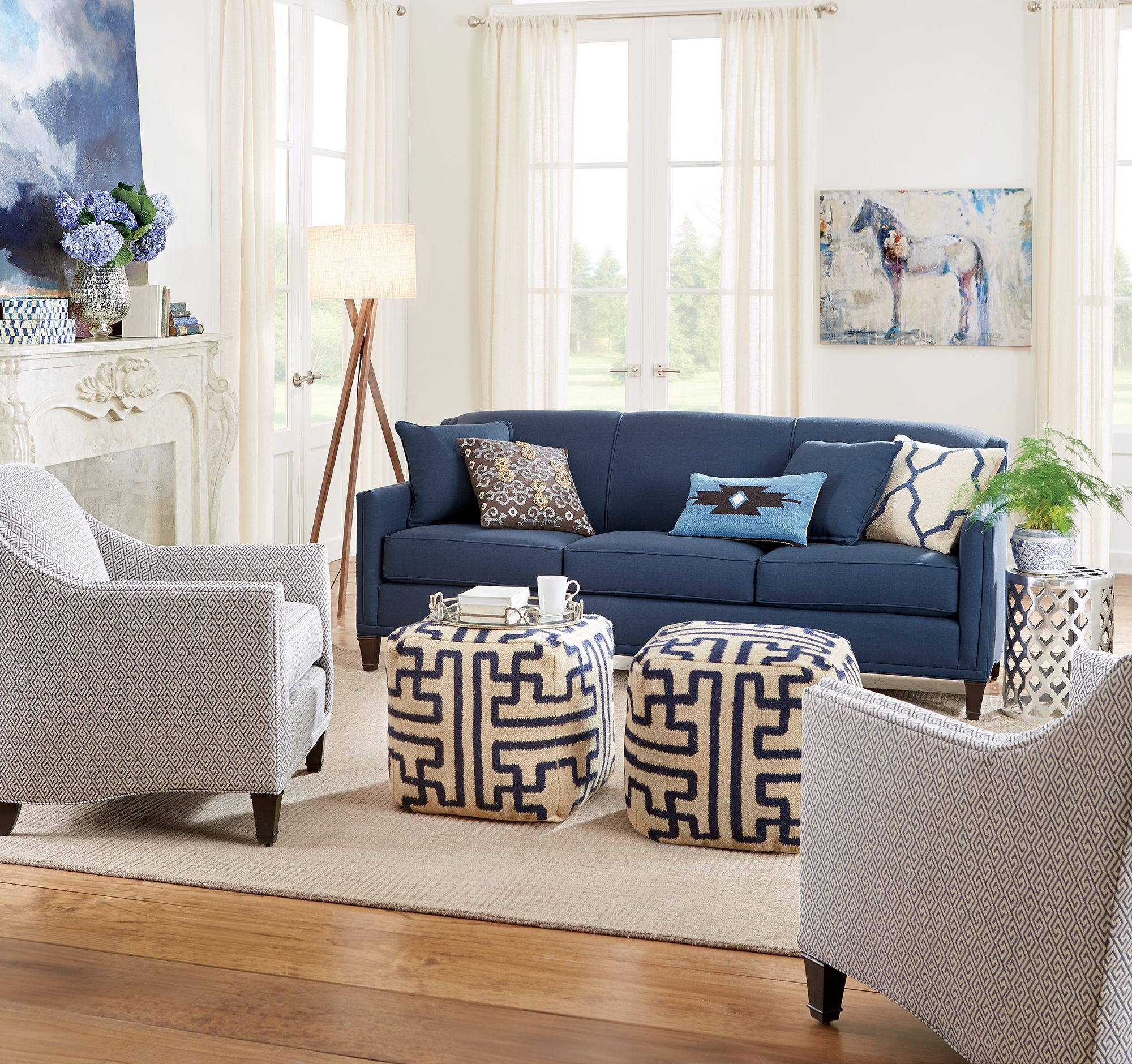 Beautiful In Blue A Stunning Blue Sofa Surrounded By Neutrals