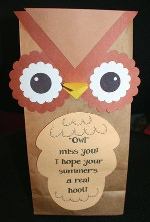 Owl Treat Bags End Of The Year Gift Idea School Gifts