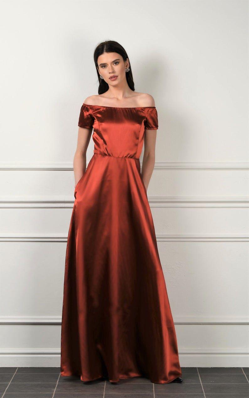 Orange burn satin maxi dress off shoulder aline dress