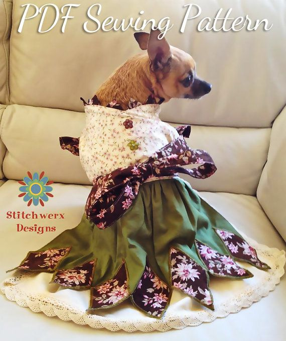 DOG CLOTHES Sewing Pattern, Small Dog Dress Digital Sewing Pattern ...