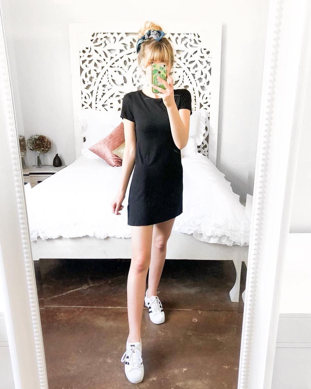 T-shirt dress and adidas trainers