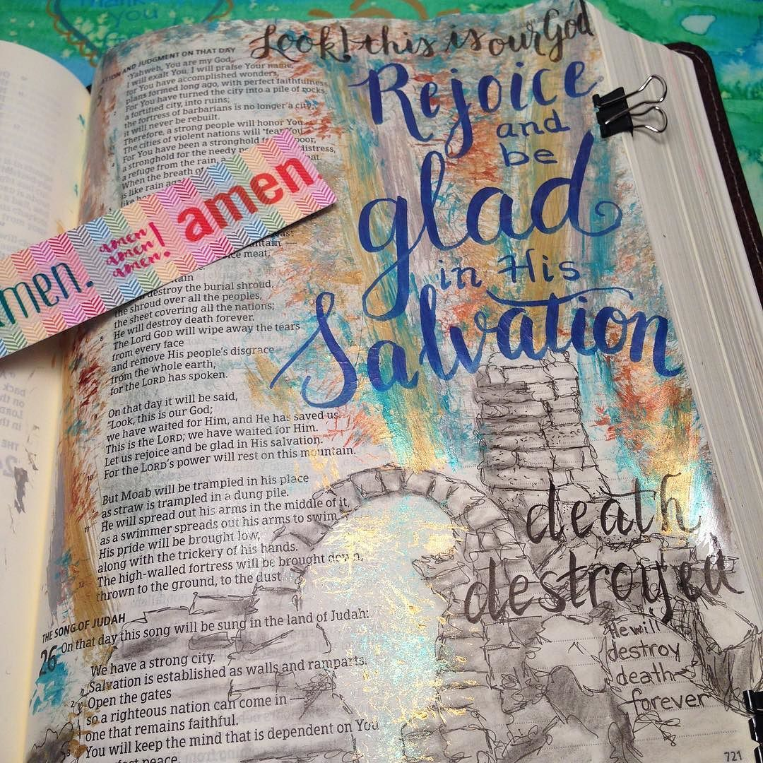 March 4. Isaiah 25. Another beautiful chapter of God's power and the hope we have through salvation!  He conquers death...and wipes away every tear!  Oh happy day! (The shine from the metallic paint makes it a bit hard to see all details n the pic) #bibleverses #artjournal #artwork #art #journalingbible #journal #scripture #scriptureart #shereadstruth #bibleart #bible #bibledaily #biblestudy #biblejournalingcommunity #biblejournaling #bibleverse #worship #ipaintinmybible #illuminatedfaith…