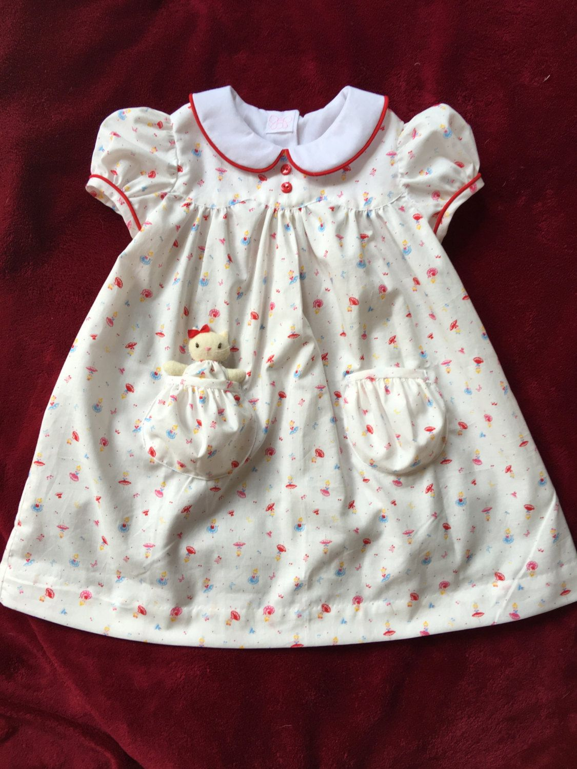 Tiny dancers dress size t with a pocket kitty by dragonbees on etsy