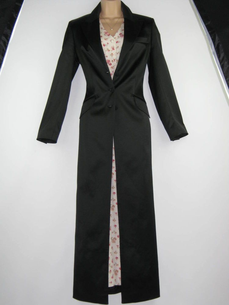 LAURA ASHLEY BLACK SATIN FULL-LENGTH FITTED EVENING DRESS COAT ...