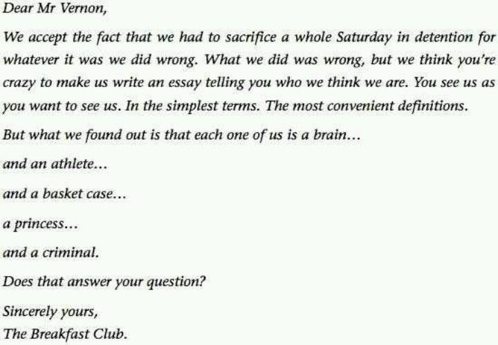 letter from the breakfast club | love the 70's and 80's | pinterest