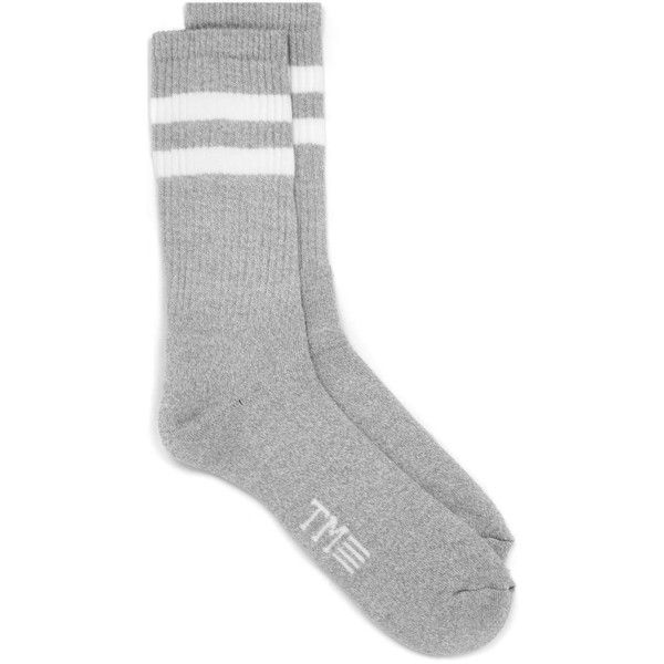b1608b892 TOPMAN Grey and White Stripe Tube Socks ($3.99) ❤ liked on Polyvore  featuring men's fashion, men's clothing, men's socks, grey, mens white socks,  mens gray ...