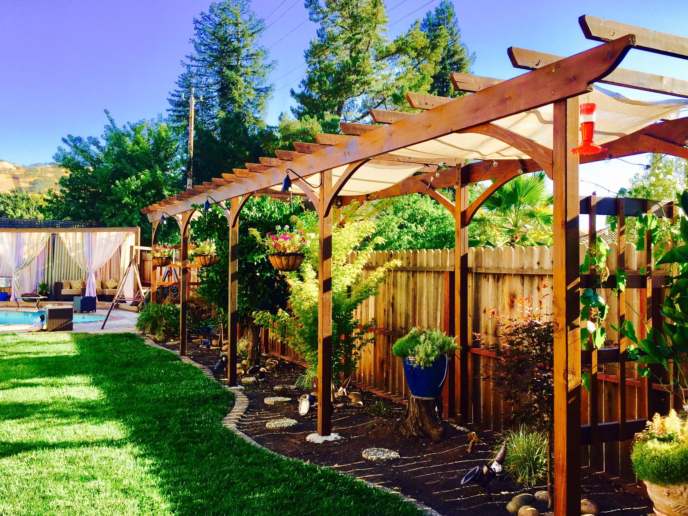 Arbor, Trellis, Pool, Cabana, Japanese Maple, Hanging Pots