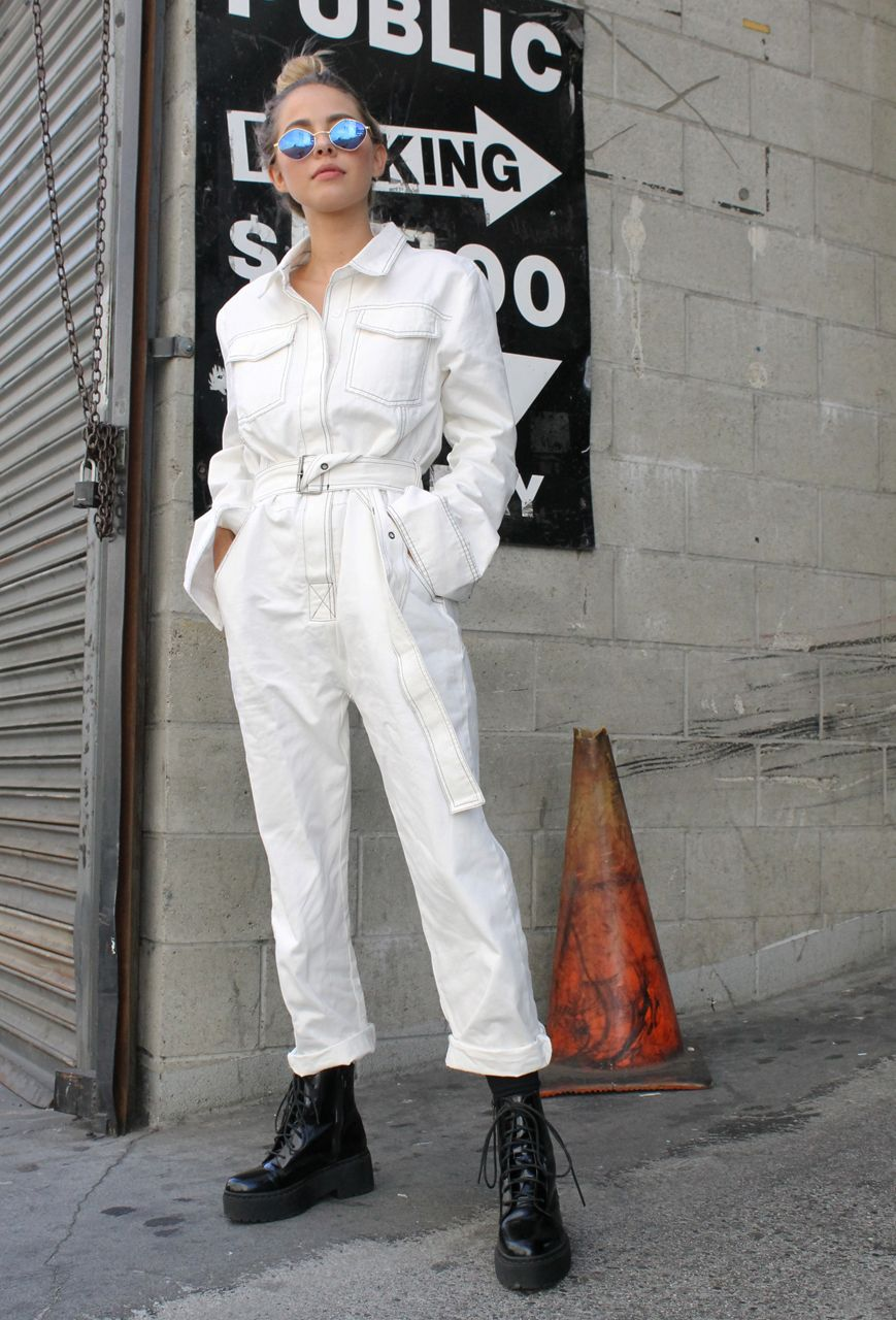 0a3ffbe75f0 CALISTYLE COVERALL JUMPSUIT WHITE COVERALLS UTILITY JUMPSUIT STREET STYLE