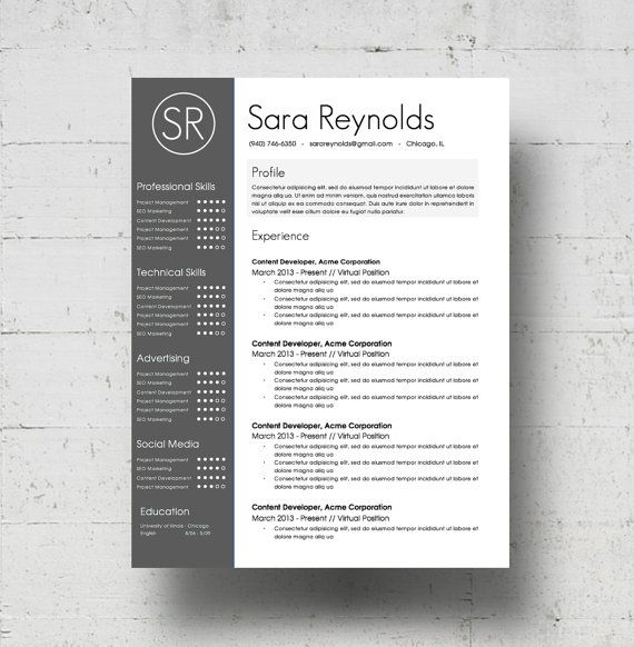 Hervatten sjabloon & sollicitatiebrief Template   de Sara Reynolds