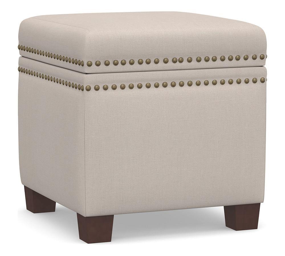 Tamsen Upholstered Cube Storage Ottoman Kendall Print Navy