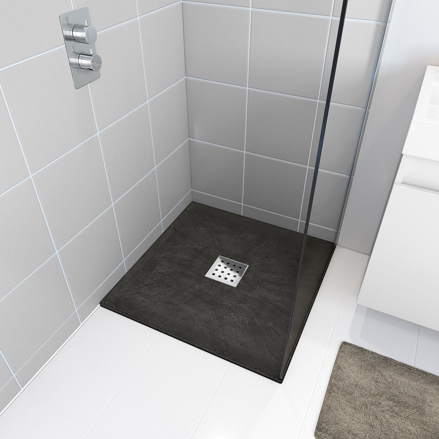 800x800mm Square Shower Tray & Chrome Waste | Slate Effect ...