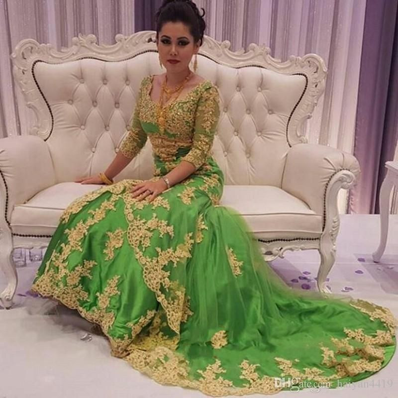 Muslim Evening Dresses Wear 2016 New Arabic Sweetheart Gold Lace ...