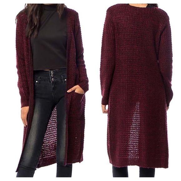 MAXI CARDIGAN Loose Knit Long Drape Sweater Jacket Boutique ...