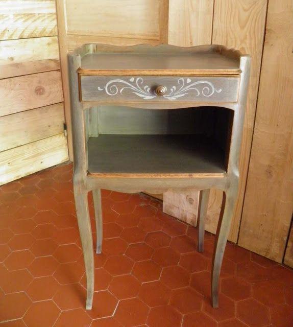 Le Temps du0027une Patine Chevet patiné avec un jus de peinture  - Peindre Table De Chevet
