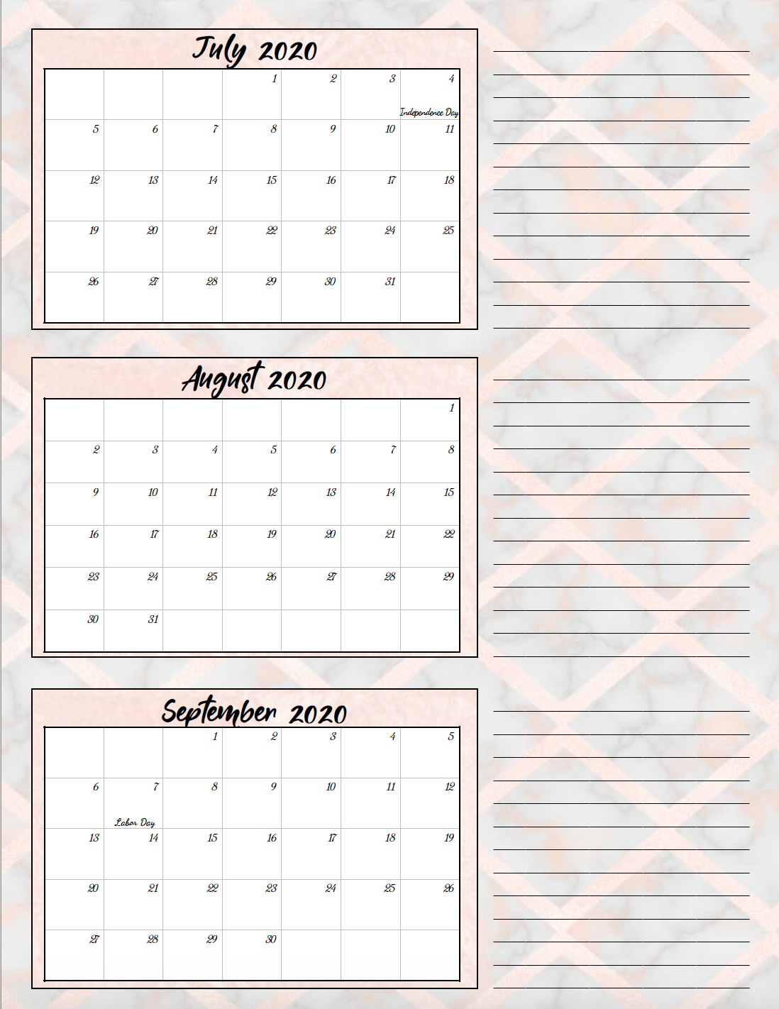 Free Printable 2020 Quarterly Calendars With Holidays 3 Designs Quarterly Calendar Calendar Printables Free Printable Calendar