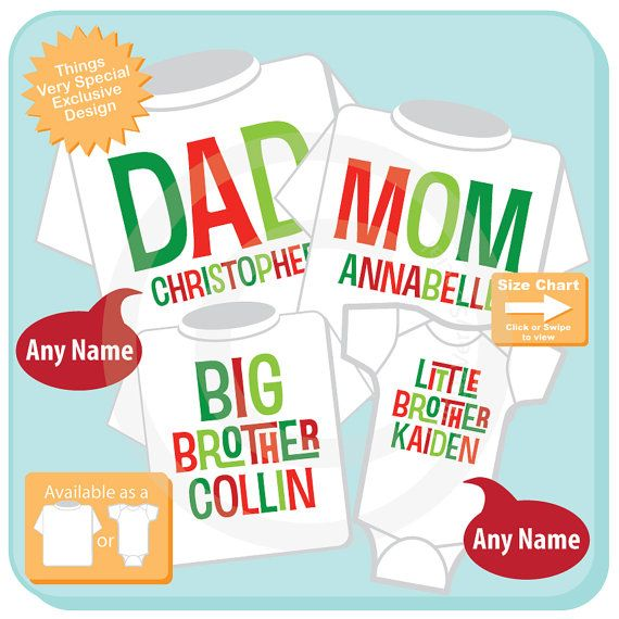 Set of Four family Holiday Shirts Adult sizes by ThingsVerySpecial