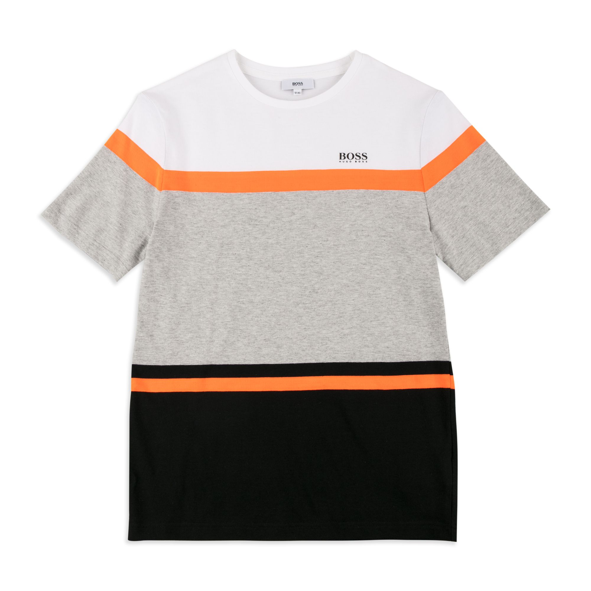 662e1a3c BOSS KIDS Boys Neon Colour-Block T-Shirt - Multi Boys short sleeve t-shirt  • Soft cotton jersey • Round neckline • Neon colour-block design • Contrast  logo ...
