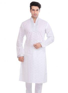 884930617e White casual wear ready-made kurta pajama in cotton | Indian kurta ...