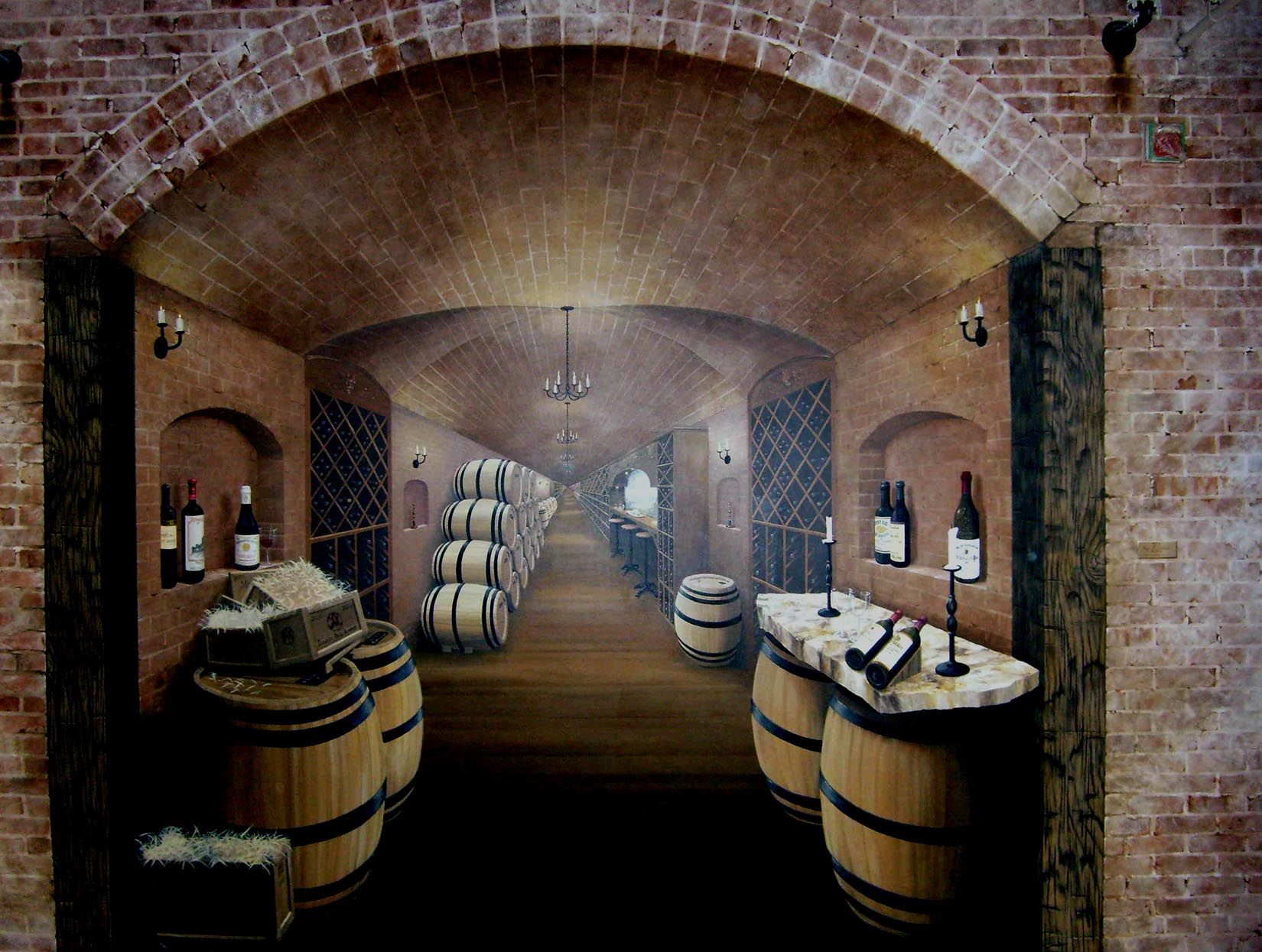 Home Wine Cellar Design Painting Edmonds Wine Cellar  The Mural Works  Brick  Pinterest  Wine .