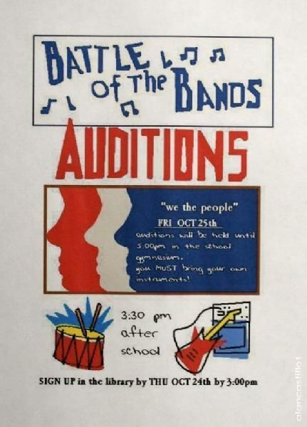 Battle of the Bands Audition Poster | Back To the Future in