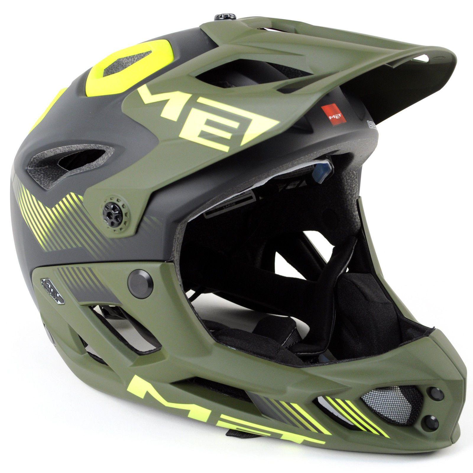 70ece5012 MET Parachute MTB Full Face Helmet    Matte Black Green Safety Yellow     Large