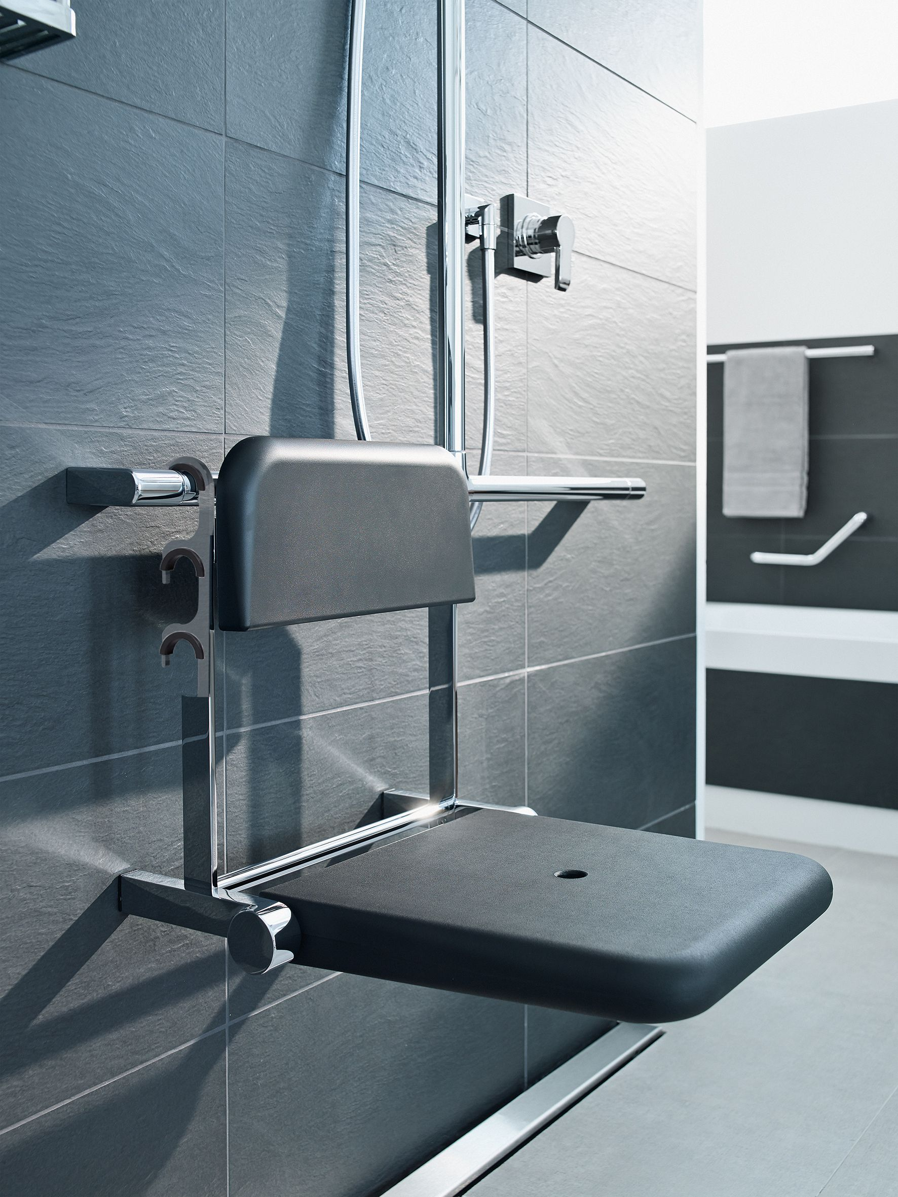Soft Touch Folding Shower Seat Luxury Disabled Bathrooms