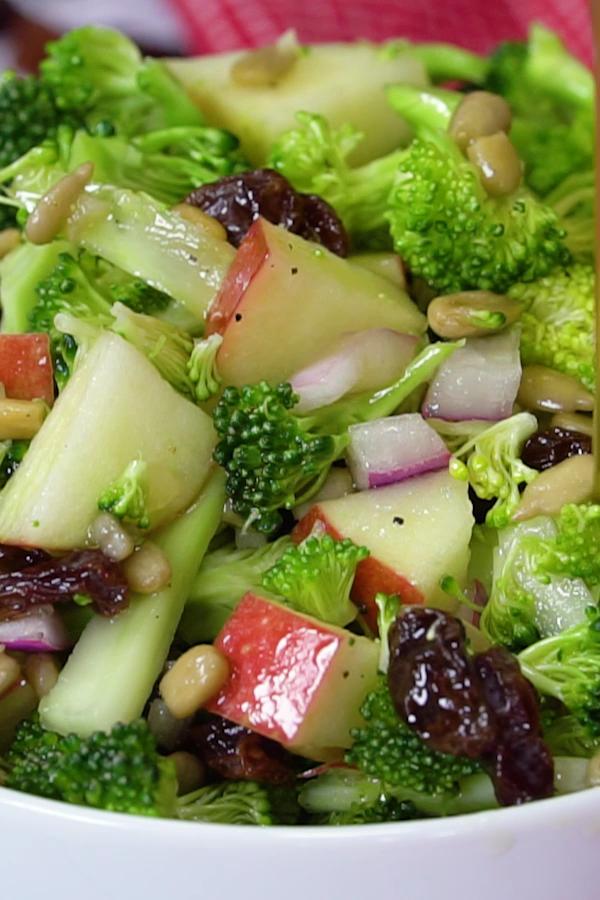 Easy Broccoli Salad with Apples Easy, Healthy broccoli salad with raisins, apples and no mayo
