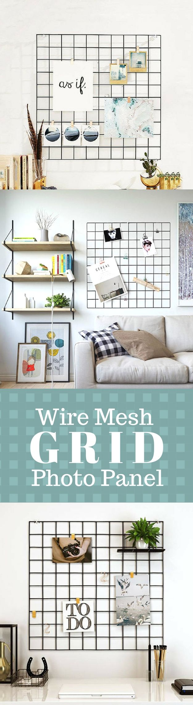 Grid Photo Wall | Wire Mesh Display Panel | Decorative Iron Rack ...