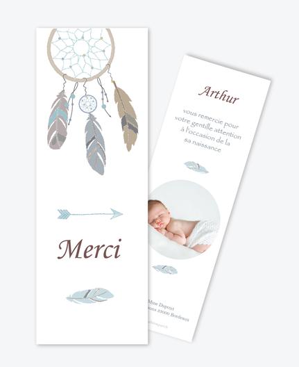 Carte de remerciements naissance garçon – ATTRAPE REVES PLUME