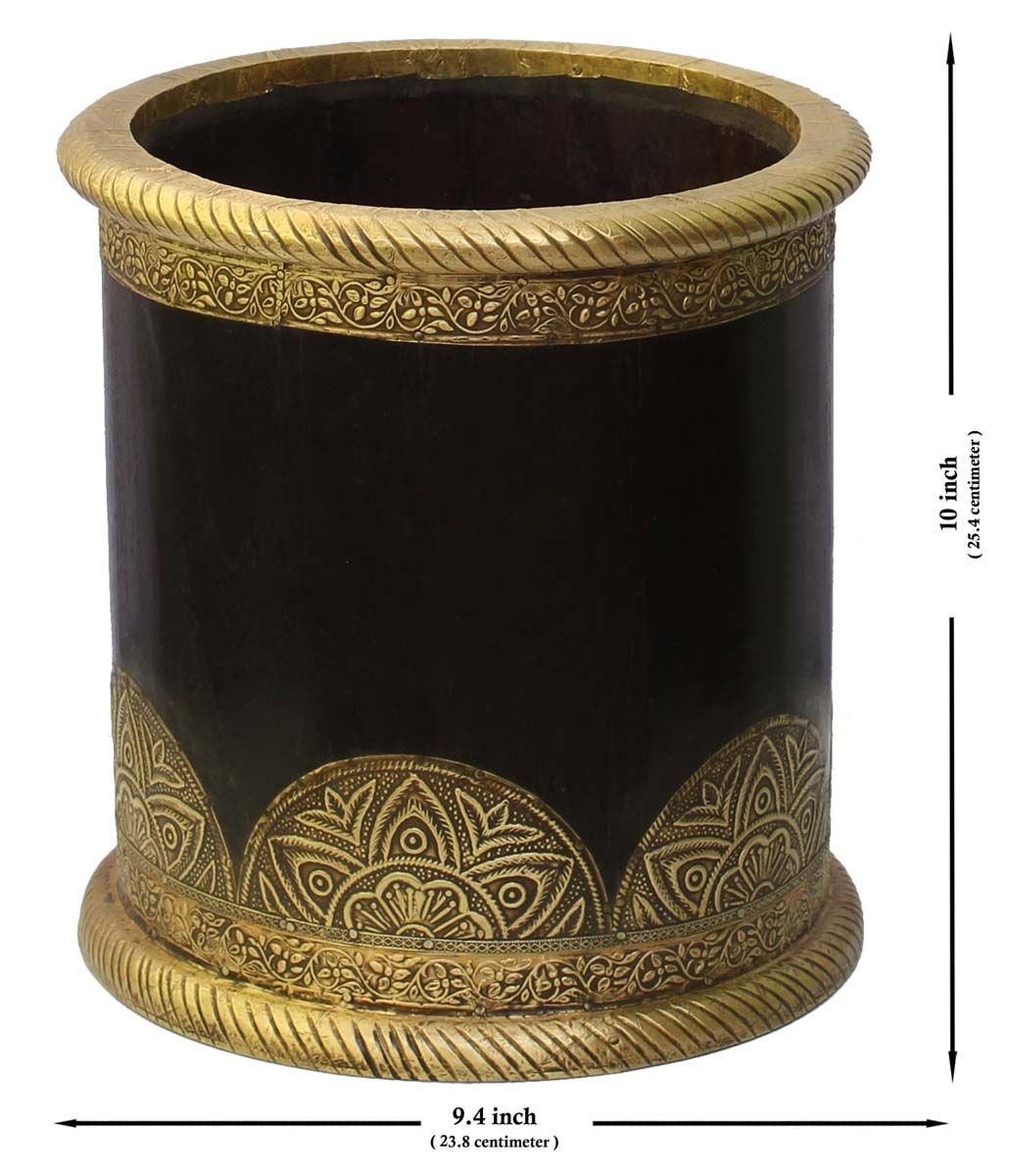 Bulk Wholesale Handmade 10 Cylindrical Flower Vase Pot In Black Decorated With Golden Brass Work Antique Look Vase Flower Planters Unique Planter Handmade