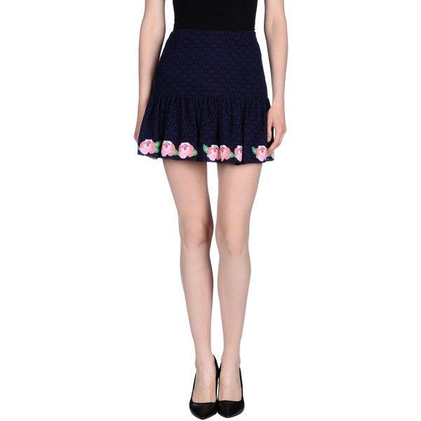 Manoush Mini Skirt (£69) ❤ liked on Polyvore featuring skirts, mini skirts, dark blue, short mini skirts, lace miniskirt, dark blue skirt, short lace skirt and zipper mini skirt