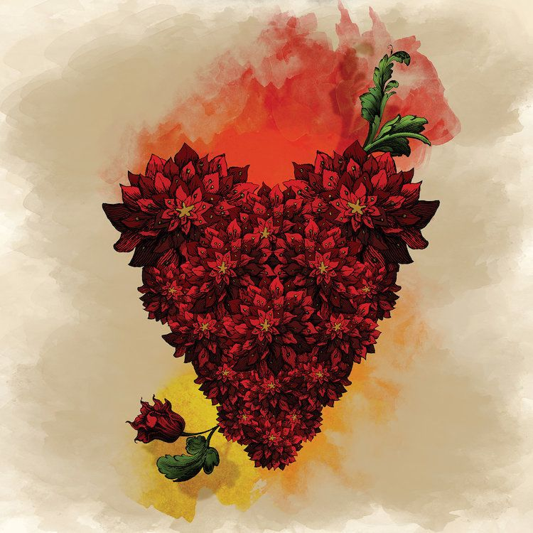 Blooming heart canvas wall art by diogo verissimo