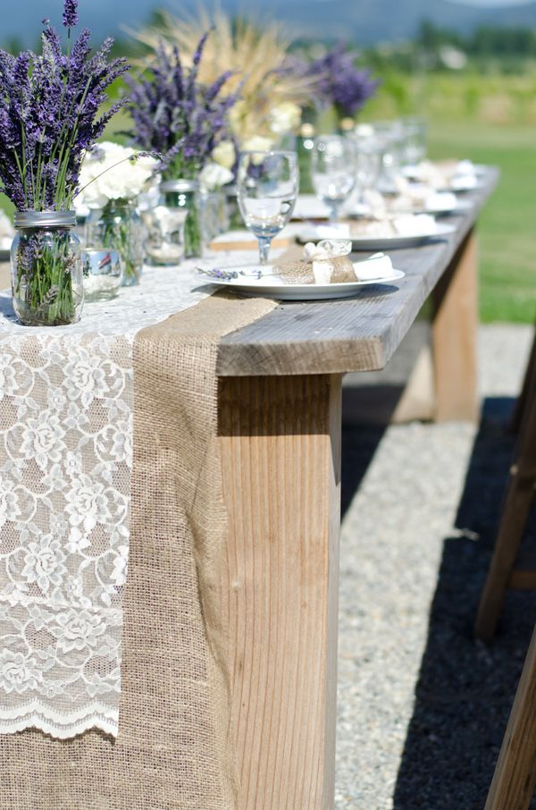 diy wedding burlap lace table runner very earthy with the fresh lavender and lace runner! & Spokane wedding location Trezzi Farms | Burlap Lavender and Lace ...